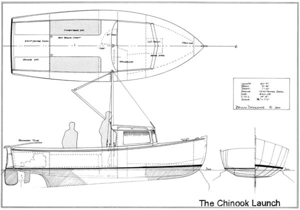 Devlin Chinook 21 cruise diy boat plan drawing