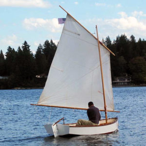 Devlin Mud Peep, a DYI duck hunting skiff, sprit rigged